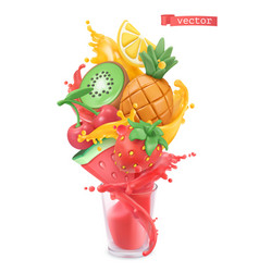 Fruit and berries burst sweet tropical fruits vector