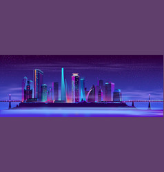 future city on artificial island background vector image