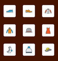 garment icons colored line set with gumshoes gown vector image