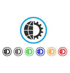global industry rounded icon vector image
