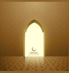 Golden mosque interior with door vector