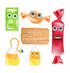 Halloween design with candies monsters set of vector