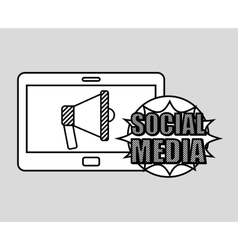 Hand drawing megaphone social media mobile vector