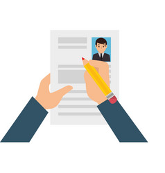 hands human with curriculum vitae isolated icon vector image