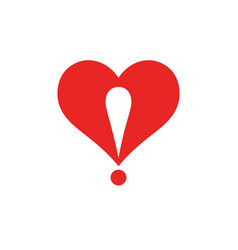 heart logo with an exclamation point vector image