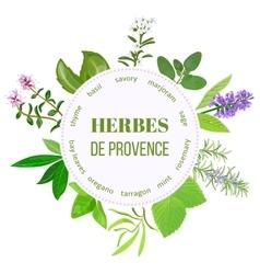 Herbes de provence round emblem vector