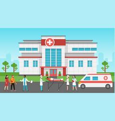 hospital exterior panorama medical building vector image