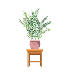 Houseplant with potted on table vector