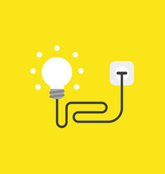 Icon concept of glowing ligh bulb with cable vector