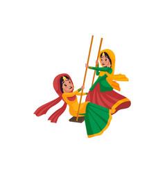 Indian woman cartoon character vector