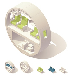 Isometric aircraft cabin cross-section vector