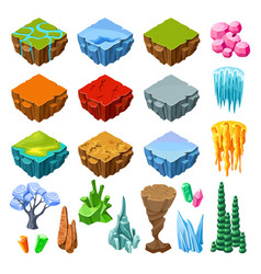 Isometric bright game landscape icons collection vector