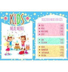Kids meal menu template brochure vector image