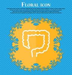 Large intestine icon Floral flat design on a blue vector
