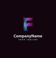letter f modern wave line logo design template vector image