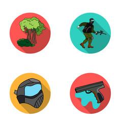 Mask gun paint inventory paintball set vector