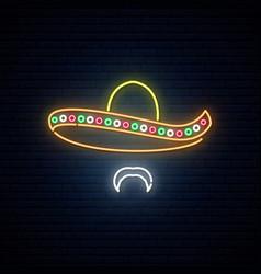 mexican man in sombrero glowing neon bright vector image