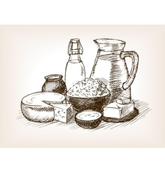 Milk products sketch style vector image