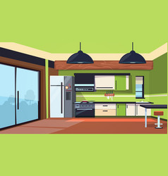 Modern kitchen interior with stove fridge and vector