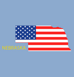 Nebraska state of america with map flag print vector