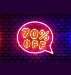 Neon chat frame 70 off text banner night sign vector