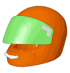 orange and green motorcycle helmet on white vector image