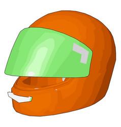Orange and green motorcycle helmet on white vector