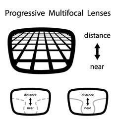 Progressive multifocal glasses lenses vector