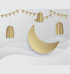 Ramadan background islamic crescent moon vector