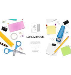 realistic stationery concept vector image