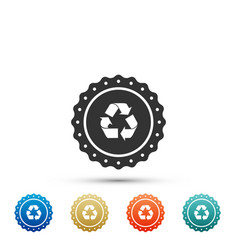 recycle symbol label icon on white background vector image