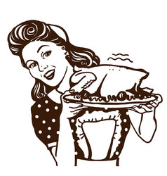 retro smiling housewife holding plate roasted vector image