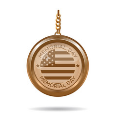 round gold medallion for memorial day vector image