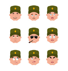 Russian soldier set emoji avatar sad and angry vector