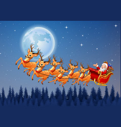 santa rides reindeer sleigh flying in the sky vector image