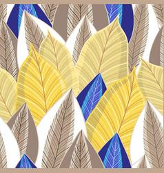 Seamless pattern autumn golden leaves vector