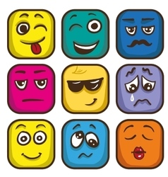 Set of colorful emoticons sqare emoji flat vector image