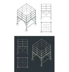 Storage and buffer silo drawings set vector