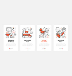 street food - modern line design style web banners vector image