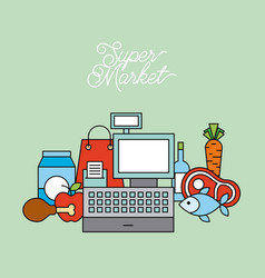 supermarket cash register food drink paper bag vector image
