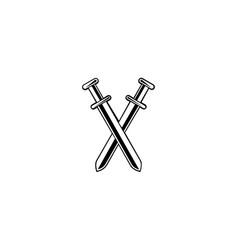 Sword logo flat design emblem design on white vector