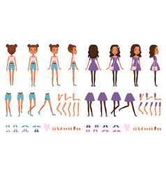 Teenager girl character constructor creation set vector