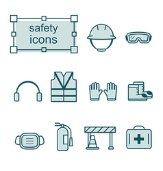 Thin line icons set Safety vector image