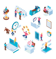 time management isometric set vector image