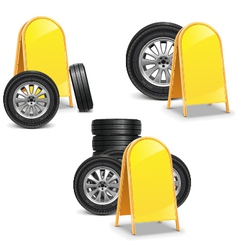 Tires with Billboard vector image
