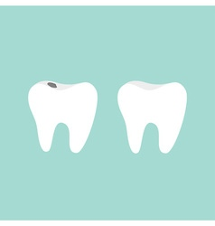 Tooth icon Healthy and bad ill tooth with caries vector