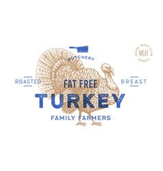 turkey template label vintage retro print vector image