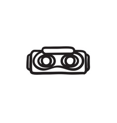 Virtual reality headset sketch icon vector