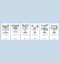 Web site onboarding screens data management vector