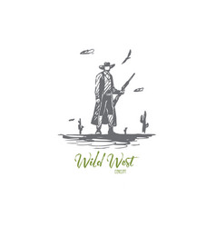 wild west cowboy gun hat western vector image